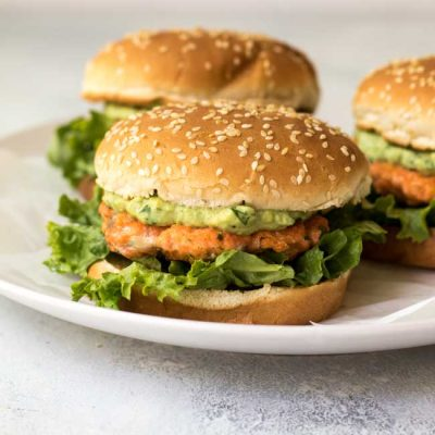 Cilantro-Lime Salmon Burgers with Avocado Mayo