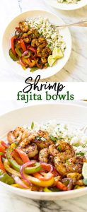 shrimp fajita bowls photo collage