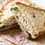 Crab salad sandwich sliced in half | girlgonegourmet.com