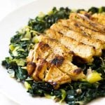 Light and healthy lemon chicken with sauteed greens | girlgonegourmet.com