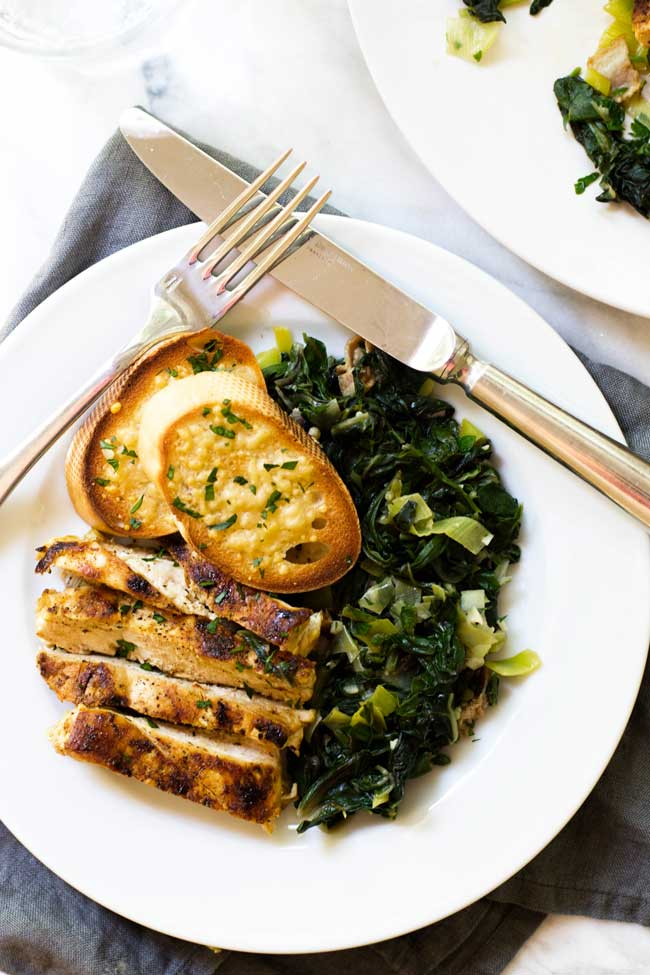 Overhead photo of a plate of greens with chicken