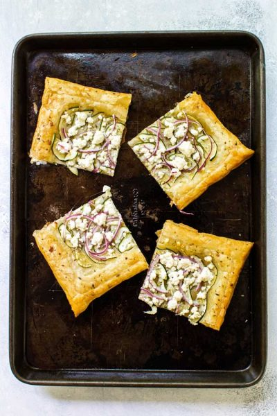 Zucchini & Goat Cheese Puff Pastry Tart