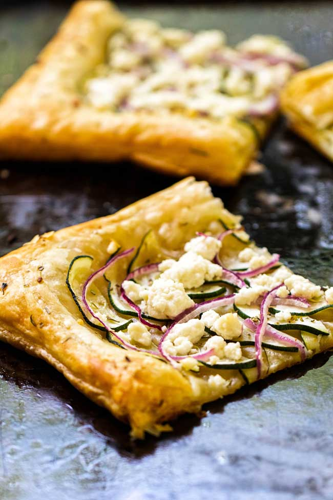 one piece of zucchini and goat cheese puff pastry