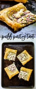 An easy puff pastry tart with zucchini and goat cheese. Great as a light dinner with salad on the side or a delicious appetizer with a glass of wine | girlgonegourmet.com