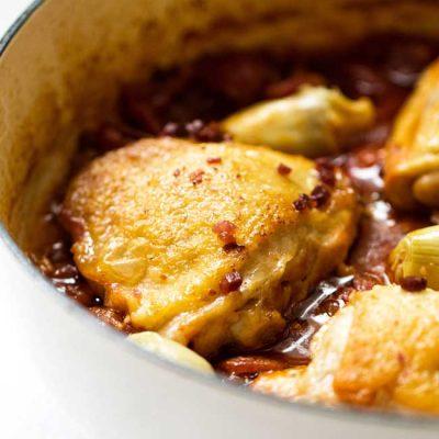Braised Chicken Bucatini with Artichoke Hearts