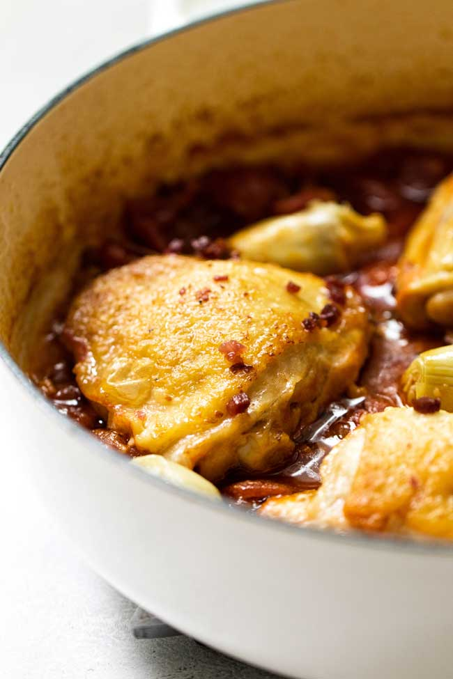 close-up photo of Braised Chicken Bucatini with Artichokes