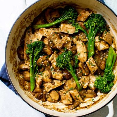 One-Pan Mushroom Chicken with Broccolini