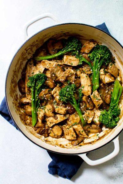 One-Pan Mushroom Chicken with Broccolini