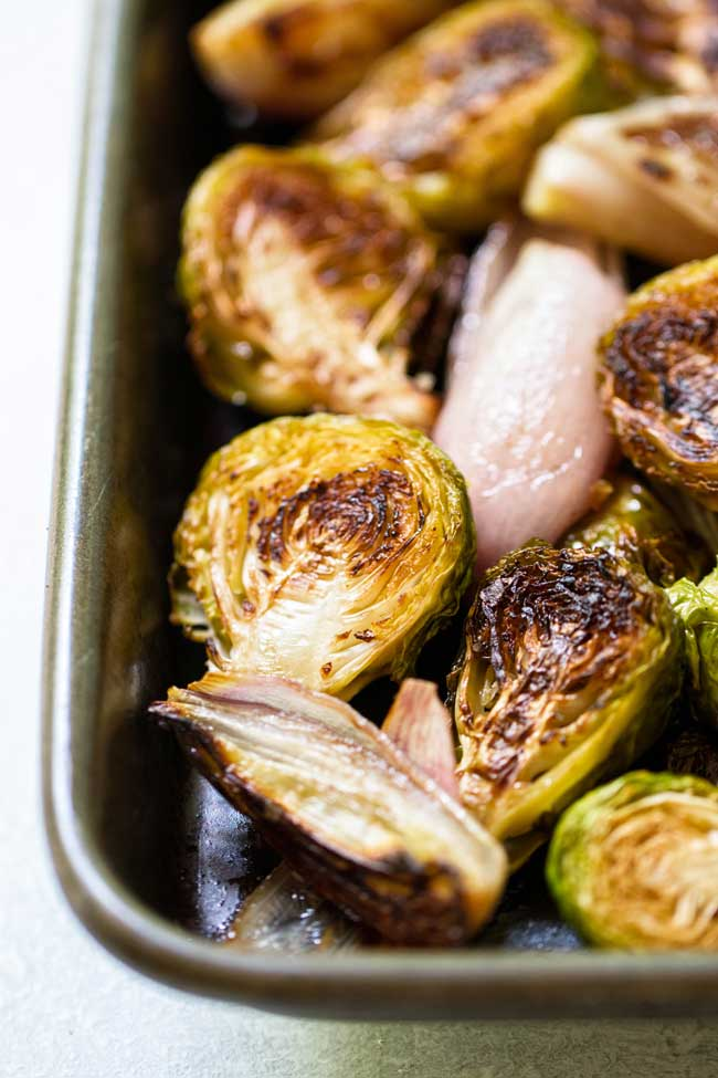 close-up photo of Balsamic Roasted Brussels Sprouts and Shallots