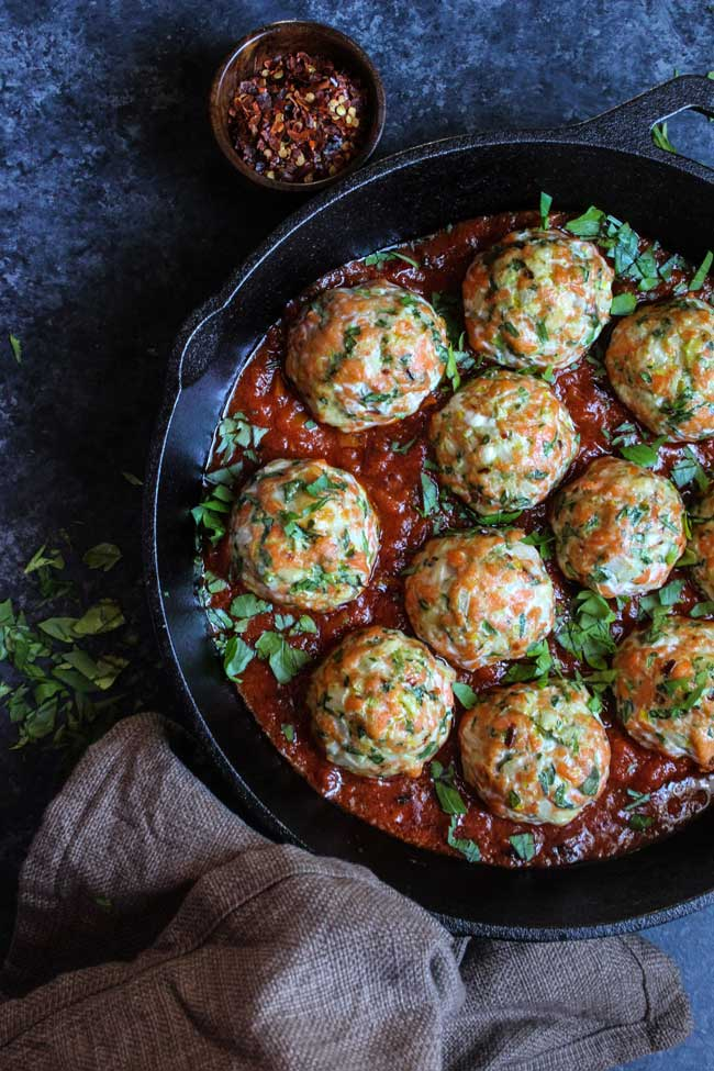 24 Meatball Recipes: Salmon Balls in a Spicy Arrabbiata Sauce