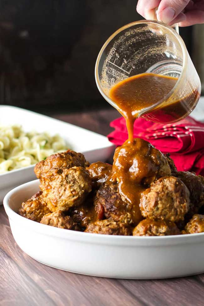 24 Meatball Recipes: Braised Meatballs with Buttered Noodles