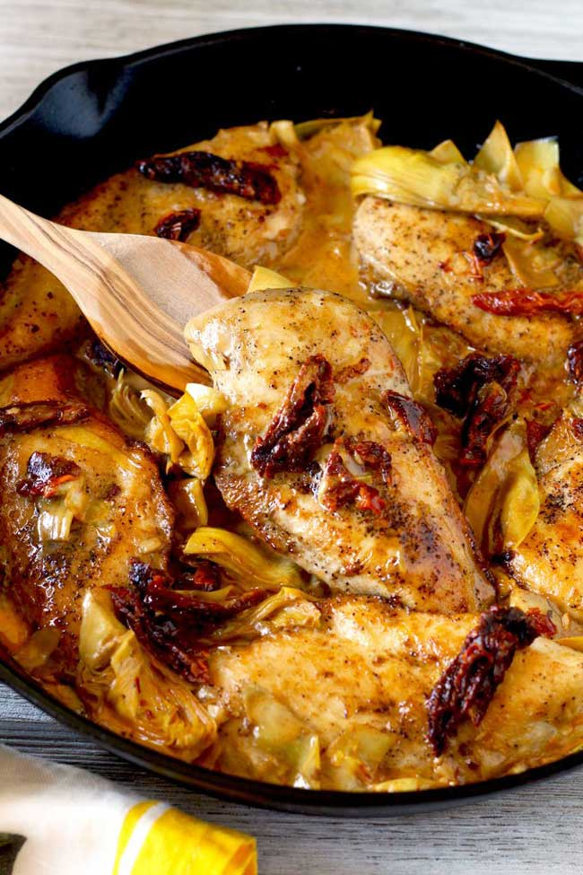 photo of Chicken with Artichokes and Sun-Dried Tomato Cream Sauce