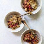 photo of three bowls of cranberry apple crisp