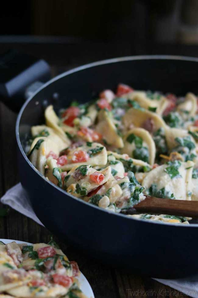 17 Comfort Food Recipes: Cheesy BLT Pierogi Skillet Dinner