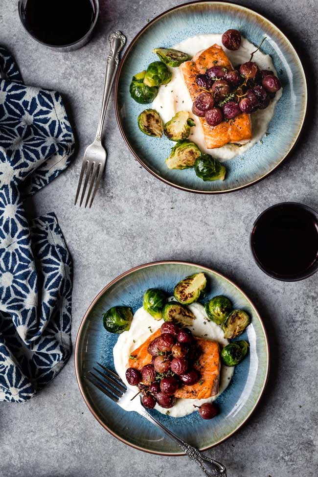 11 Easy Dinner Recipes for Two: Salmon with Roasted Grapes and Thyme