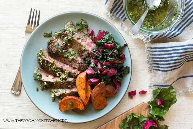 Steaks with Chimichurri and Roasted Harissa Sweet Potatoes