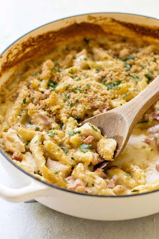 Baked chicken cordon bleu pasta in a pan