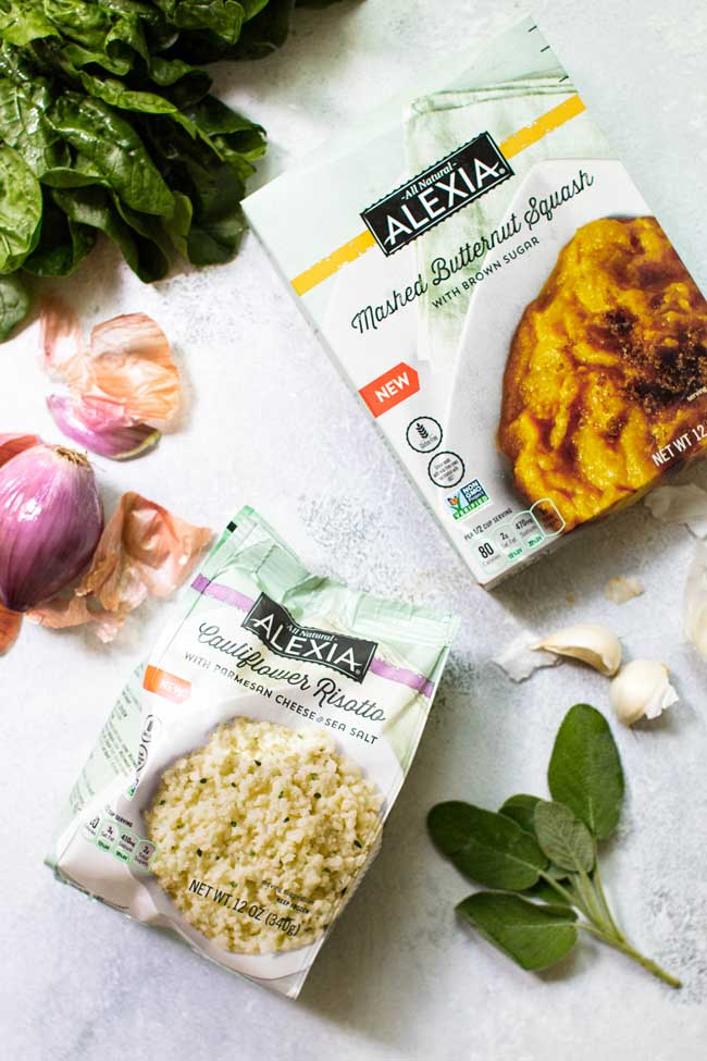 A package of Alexia cauliflower risotto and a package of Alexia mashed butternut squash