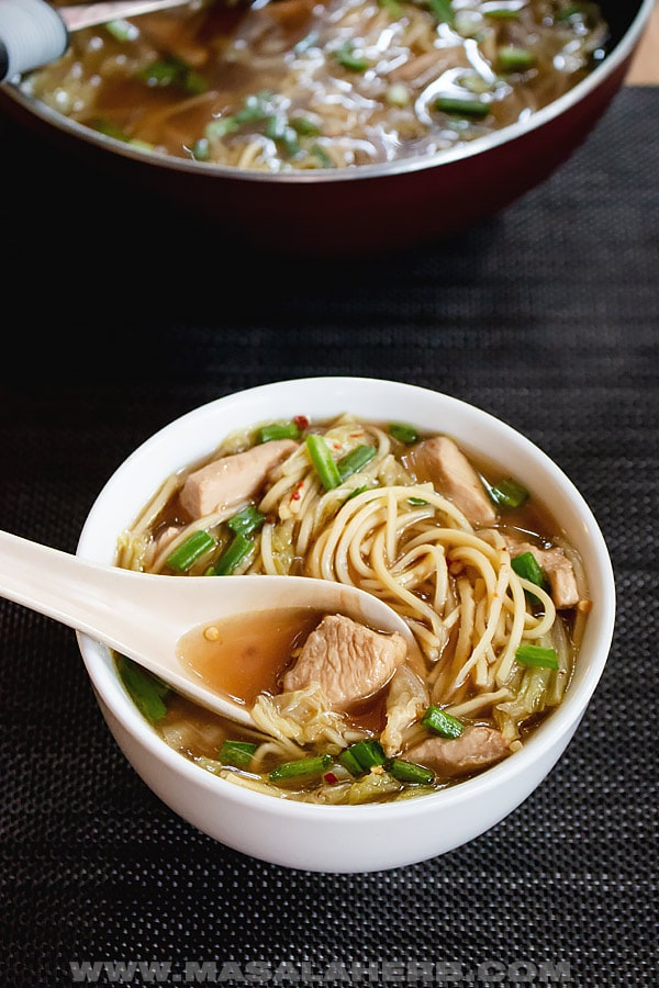 Chinese chicken noodles soup