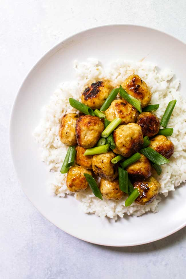 Citrus-Glazed Chicken Meatballs with Rice