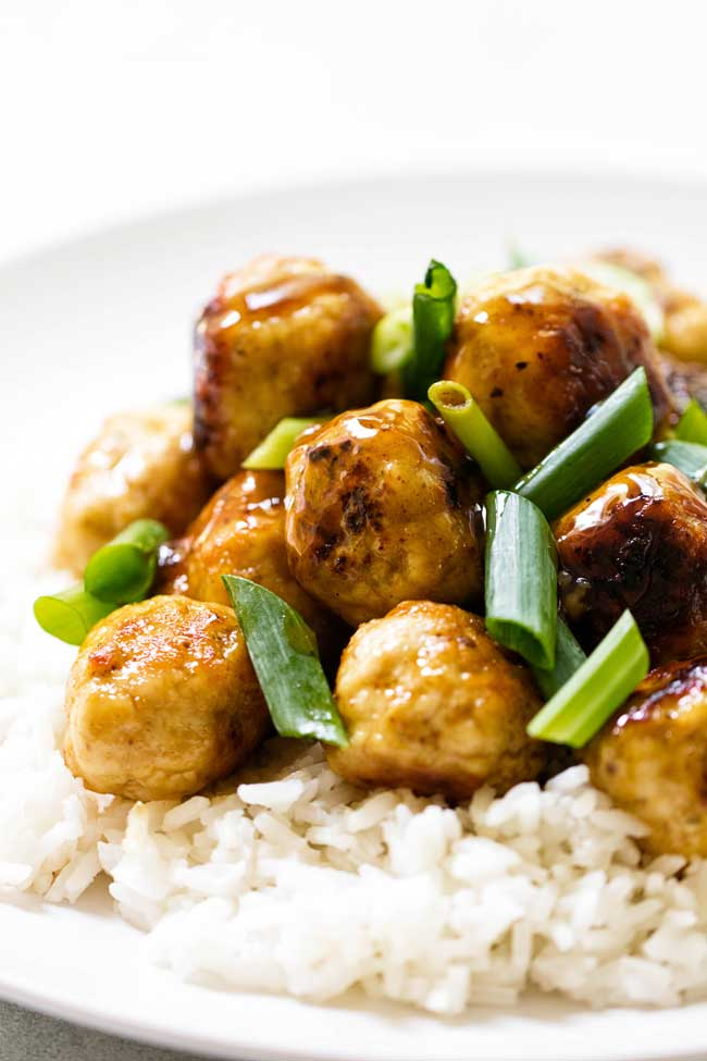 Citrus-Glazed Chicken Meatballs with Green Onion Garnish