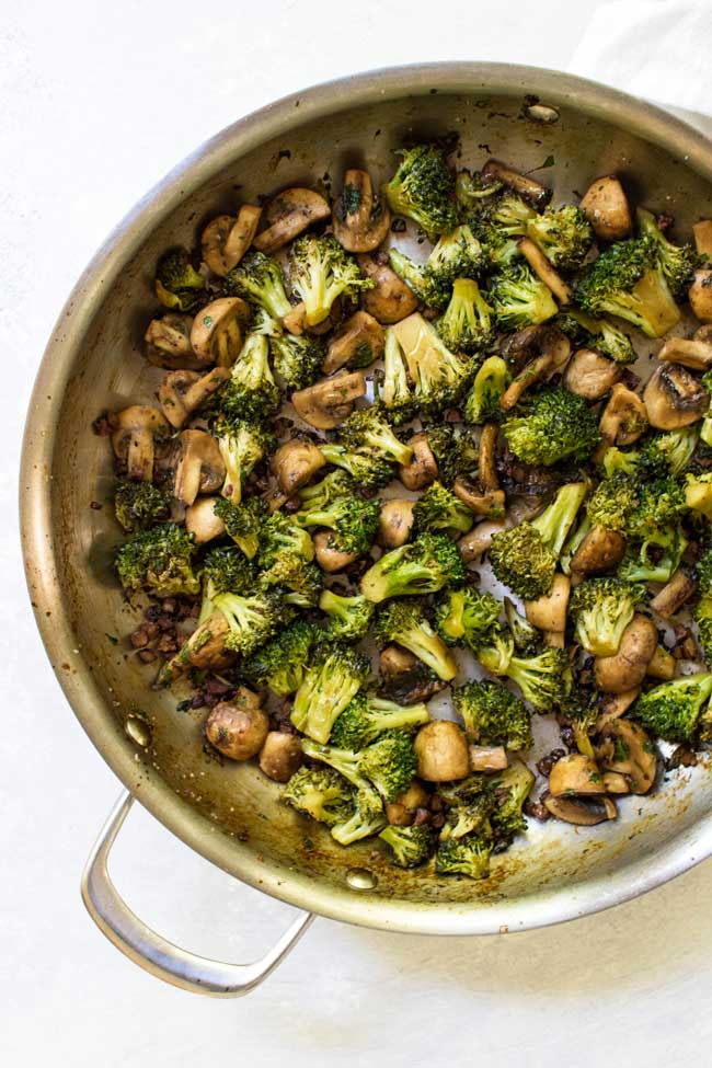 overhead photo of Skillet Mushrooms and Broccoli with Pancetta