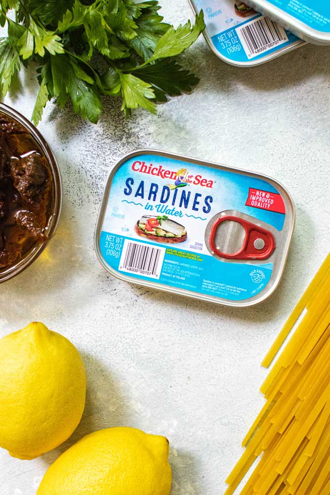 Sardines for sun-dried tomato pasta