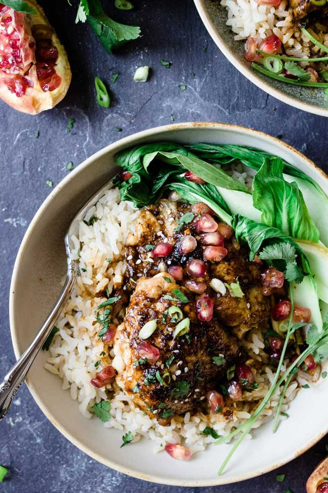 Sticky Asian Pomegranate Chicken
