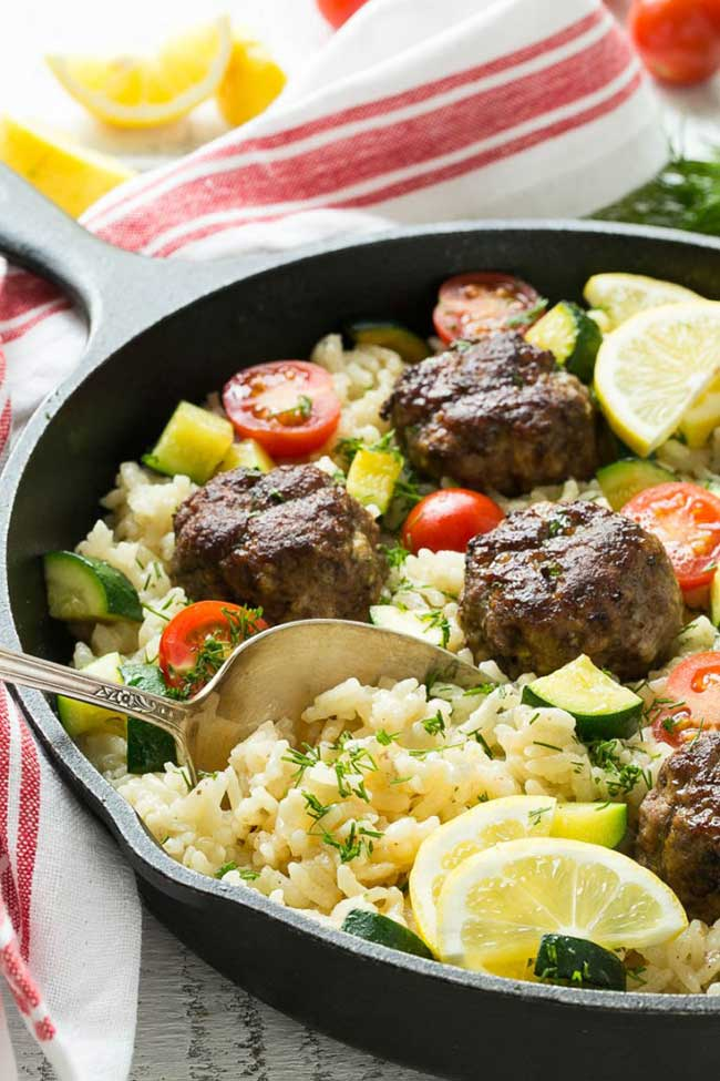 One-Pot Meals: Greek Meatballs with Lemon Dill Rice