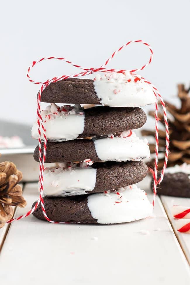 Dark Chocolate Candy Cane Cookies