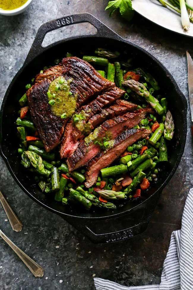 One Skillet Steak and Spring Vegetables