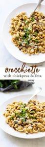 Orecchiette with chickpeas and feta