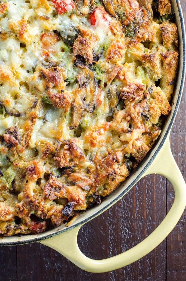Vegetarian Make-Ahead Breakfast Casserole in a yellow skillet