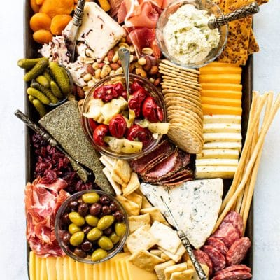 Overhead shot of holiday cheese board