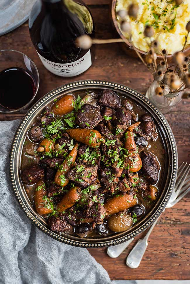 Beef bourguignon in a bowl
