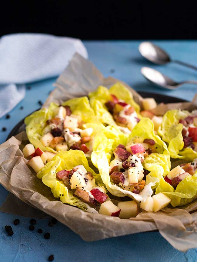 Bacon and apple lettuce wraps