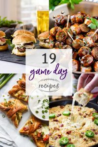 Photo collage with recipes of game day recipes