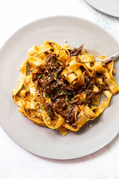 Braised Short Rib Mushroom Sauce with Pappardelle