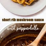 Mushroom sauce with short ribs and pappardelle