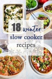 Photo collage with four different slow cooker recipes