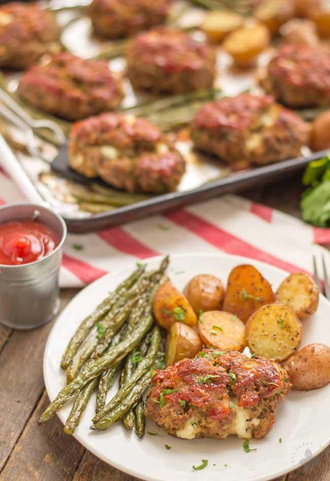 sheet pan mini meatloaves
