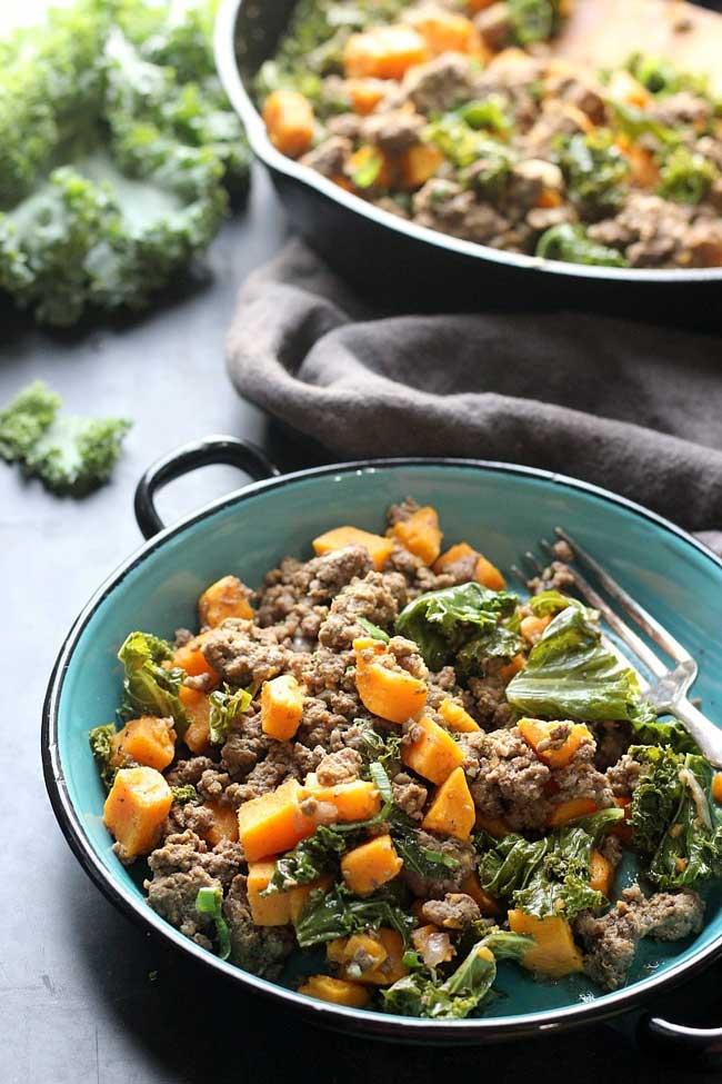 ground beef sweet potato bowl