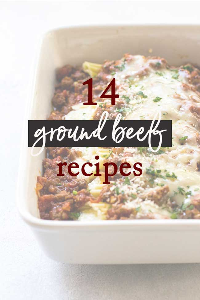 Photo of beef manicotti that says 14 ground beef recipes