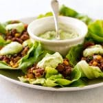 chipotle beef lettuce wraps with avocado dressing