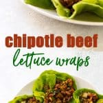 chipotle beef lettuce wraps photo collage
