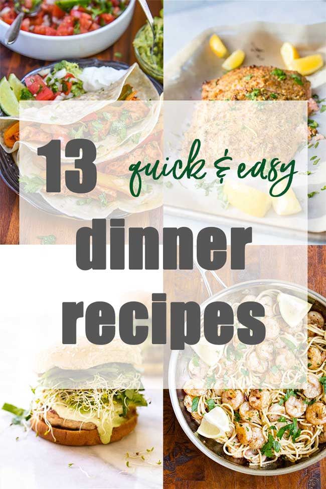 Photo collage with quick and easy dinner recipes