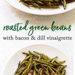 Roasted green beans photo collage
