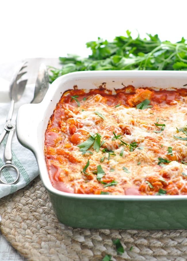 chicken marinara in a baking dish