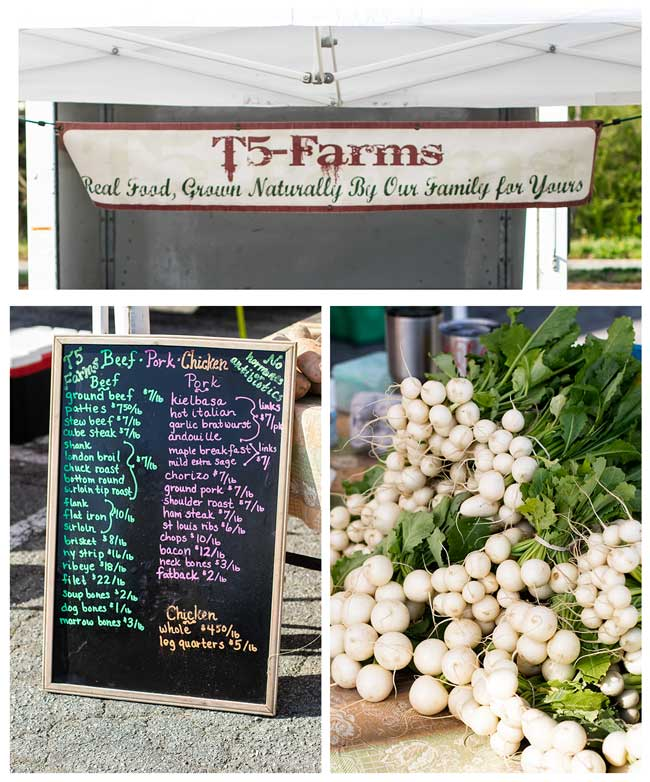 Photo collage of T-5 farm booth at the farmers market