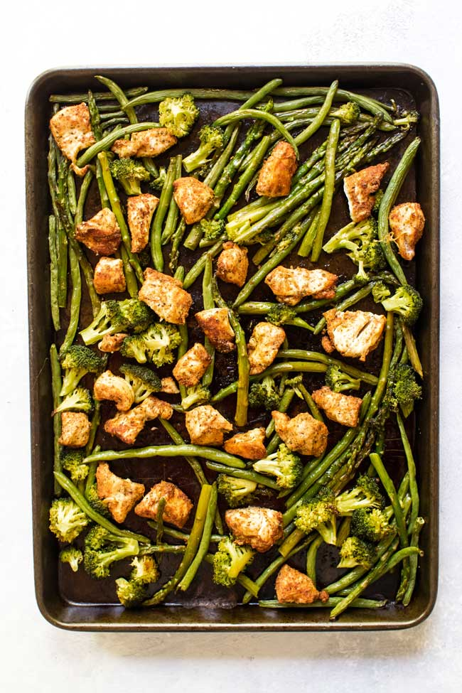 Sheet pan chicken with basil-garlic veggies